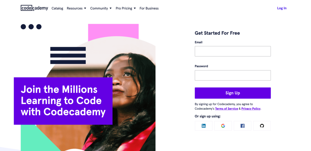 Code Academy homepage.