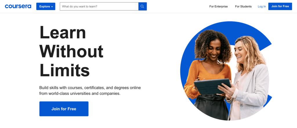 Coursera homepage.