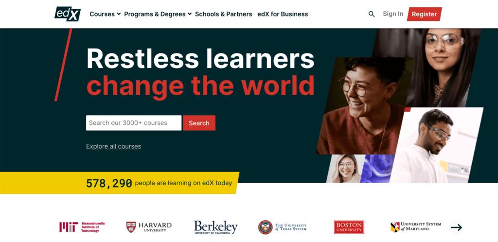 edX homepage.
