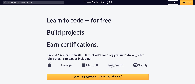 Free Code Camp homepage.