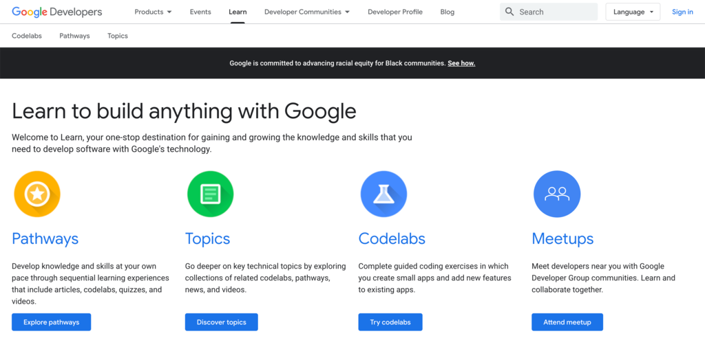 Google Android Training homepage.