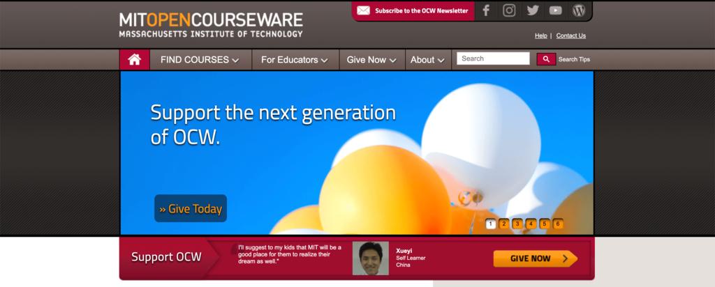 MIT Open Courseware homepage.