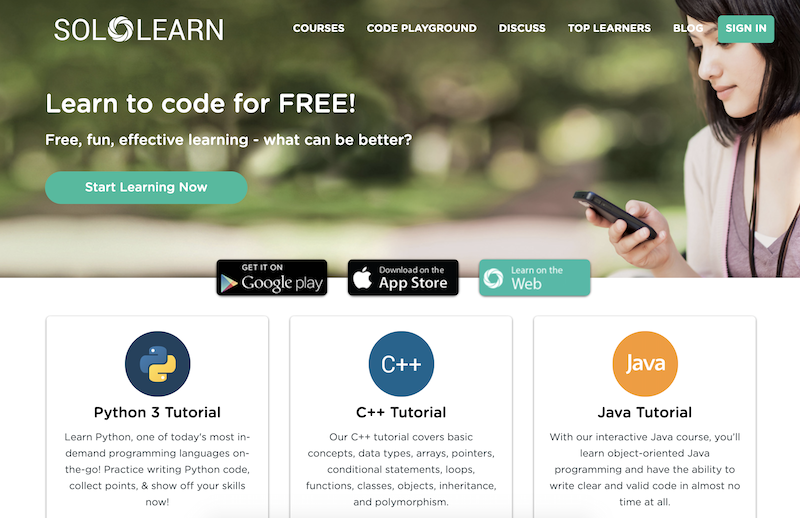 Solo learn website to online how to code