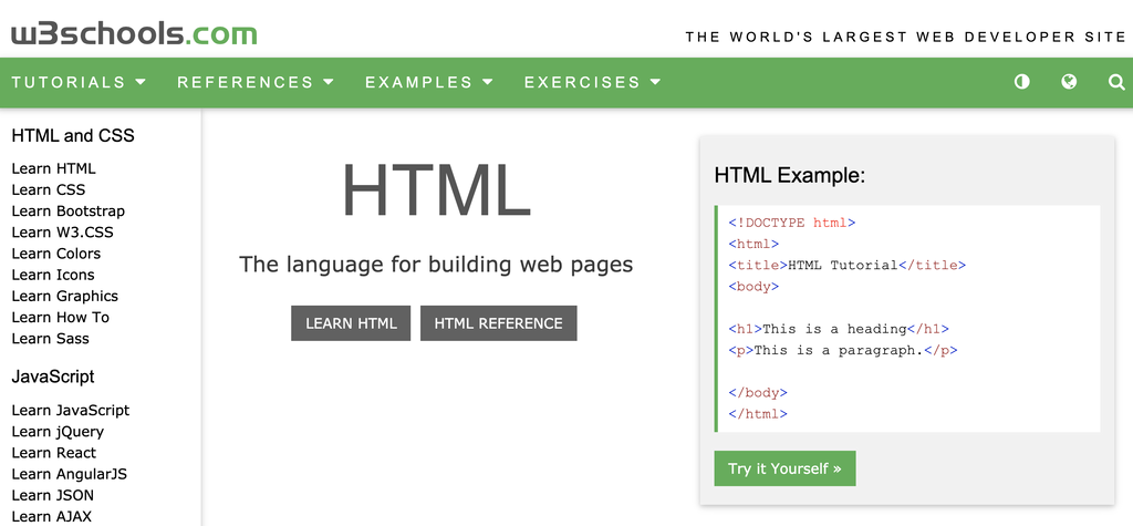 W3Schools home page for hmtl css