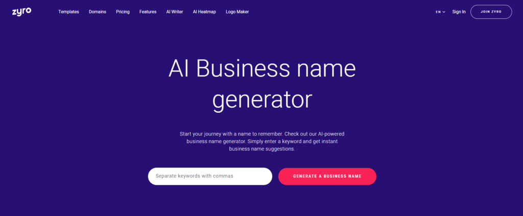 Zyro's AI business name generator