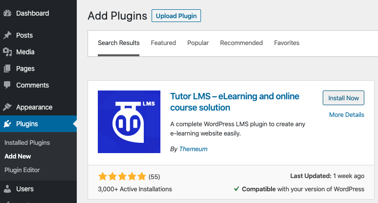 Adding Tutor LMS plugin to WordPress