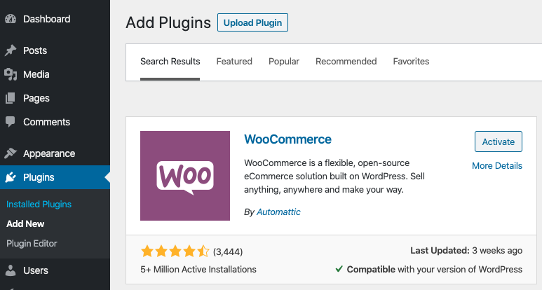 Adding WooCommerce plugin to WordPress