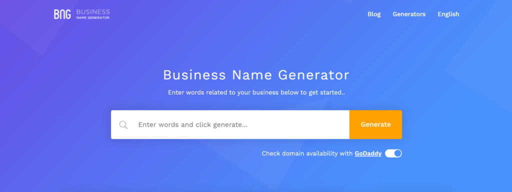 BNG business name generator landing page