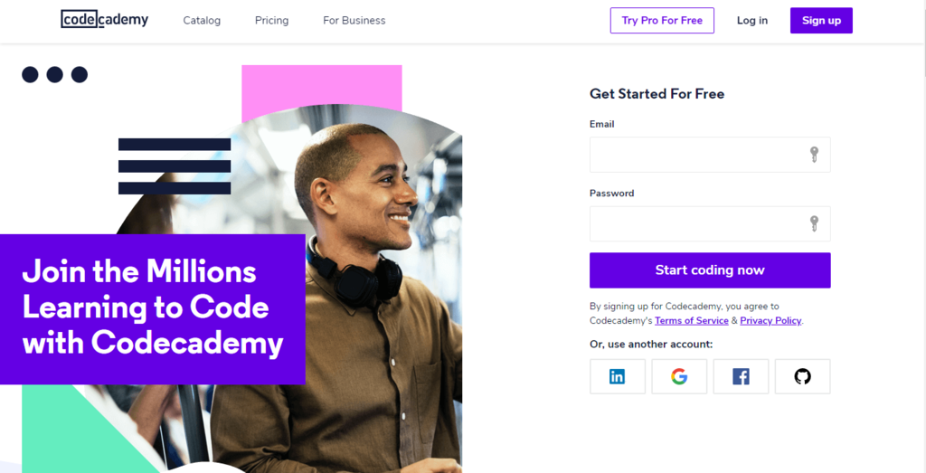 Codecademy homepage for work from home job