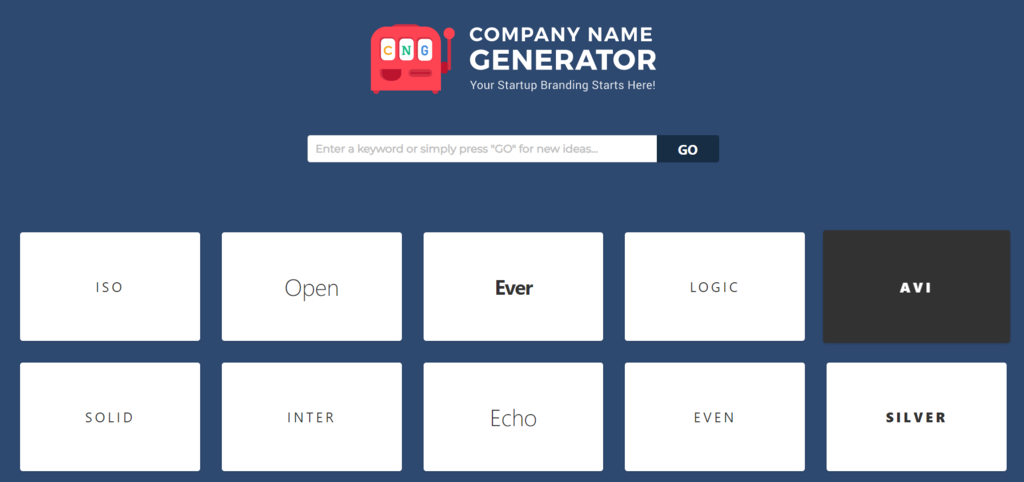 company name generator landing page