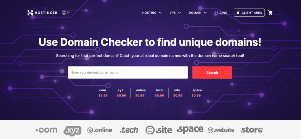 Checking whether your domain name is available using the domain checker.