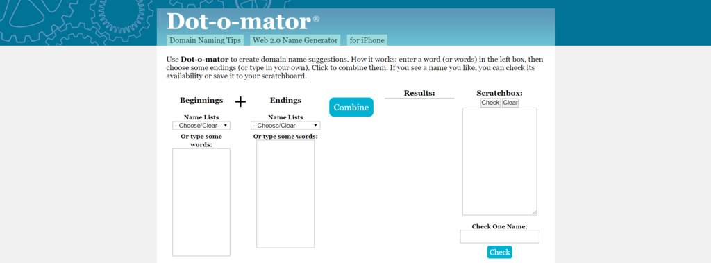 Dot-o-mator generator to show you names that are taken are available