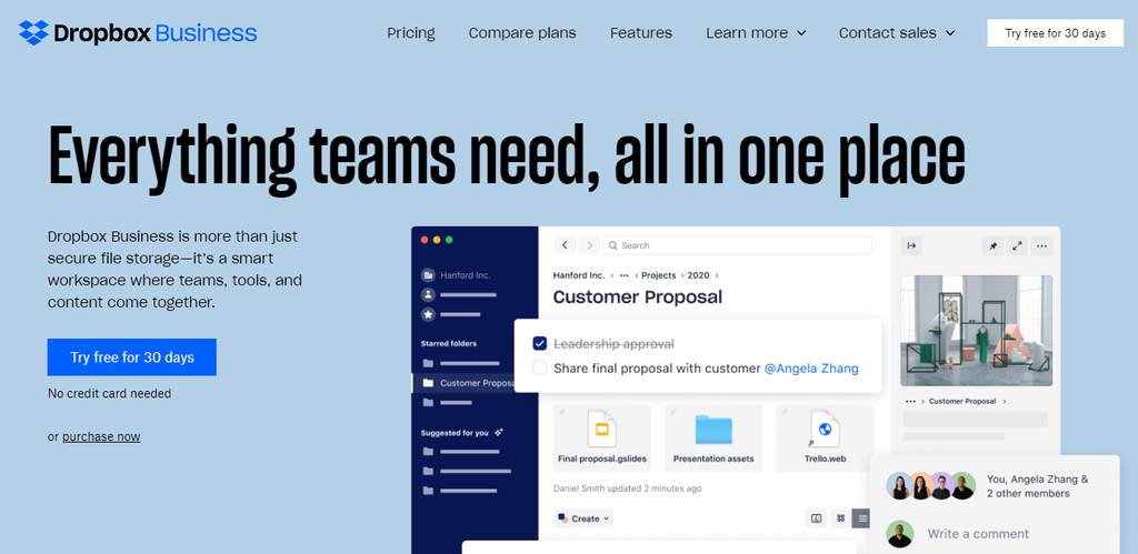 Collaboration tool online, Dropbox Business