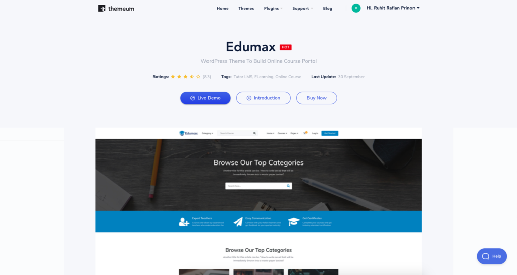 Exumax theme page untuk e-learning