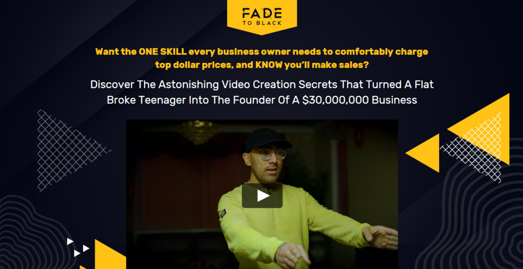 Fade to Black homepage work from home job example