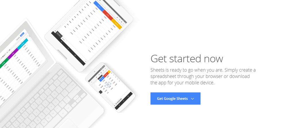 Google Sheet's landing page