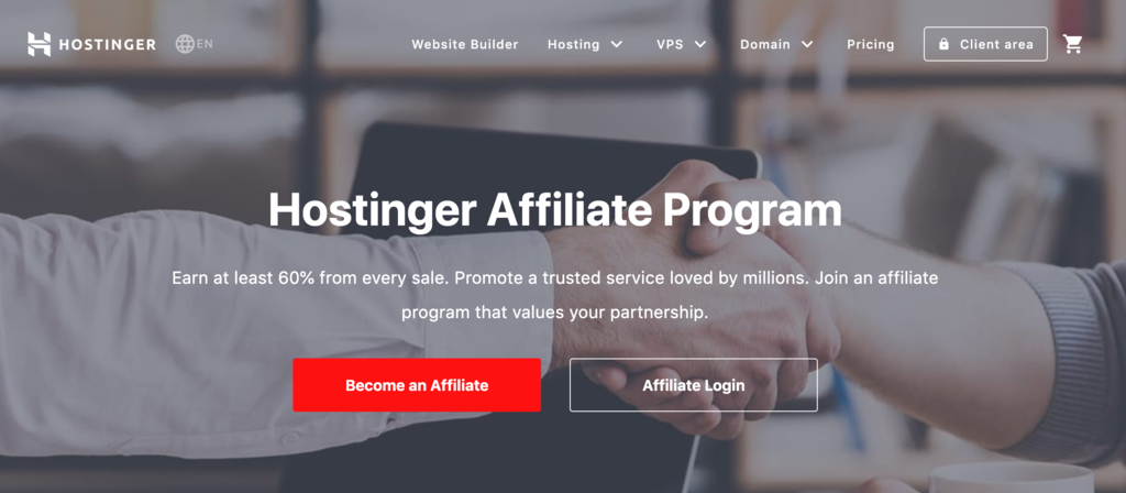 hostinger affiliate program homepage