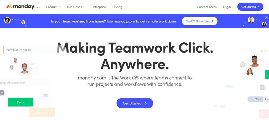 Monday.com's homepage
