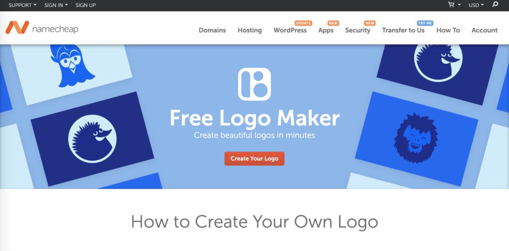 Namecheap's Free Logo Maker landing page