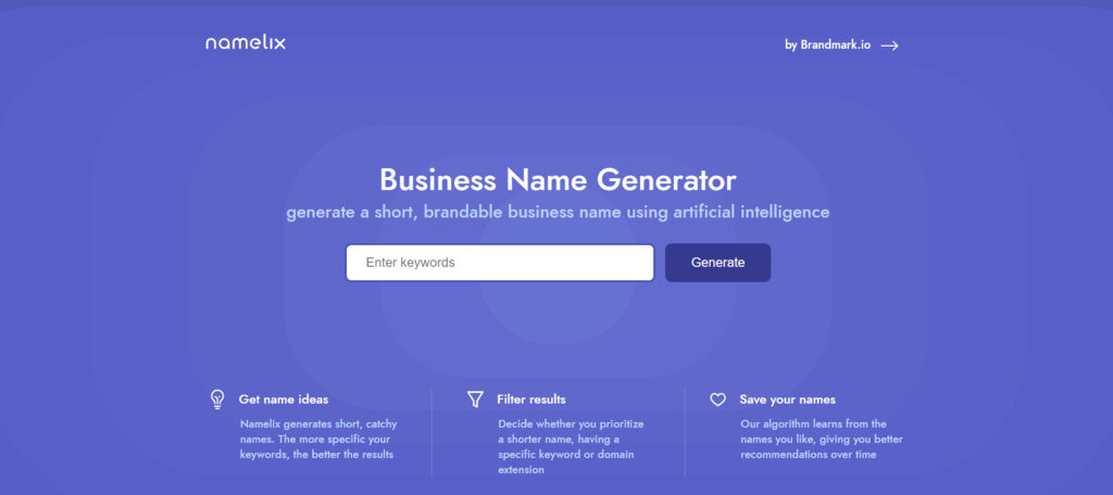 Namelix business name generator