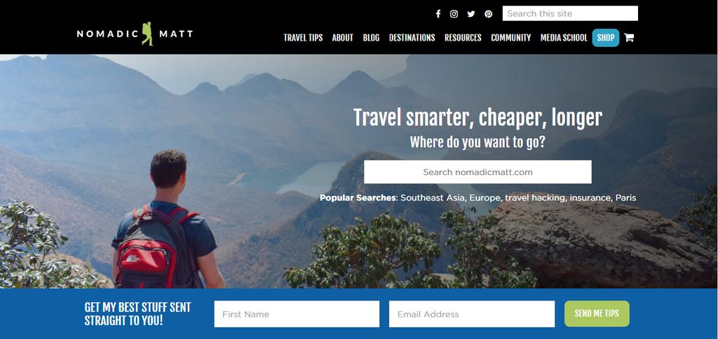 Nomadic Matt's homepage
