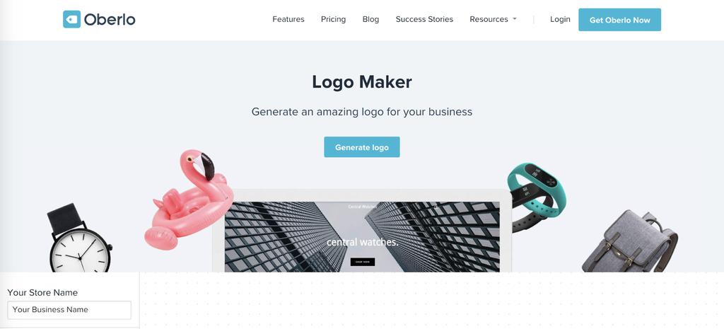 Oberlo's Logo Maker landing page