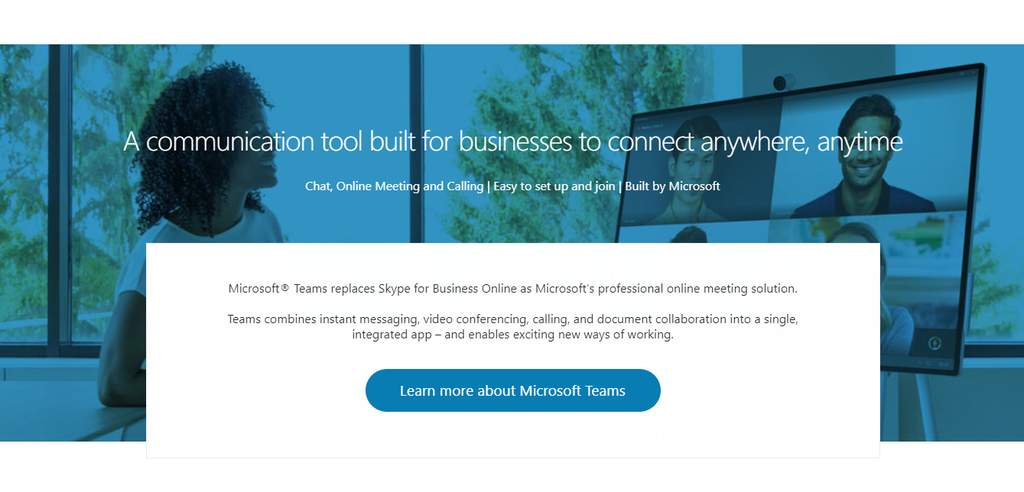 Skype for Business landing page