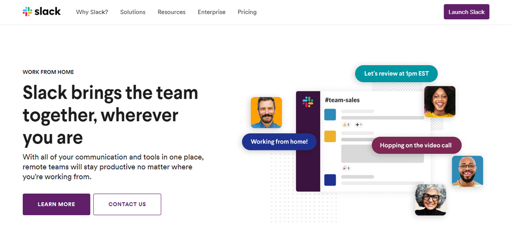 Slack website's homepage