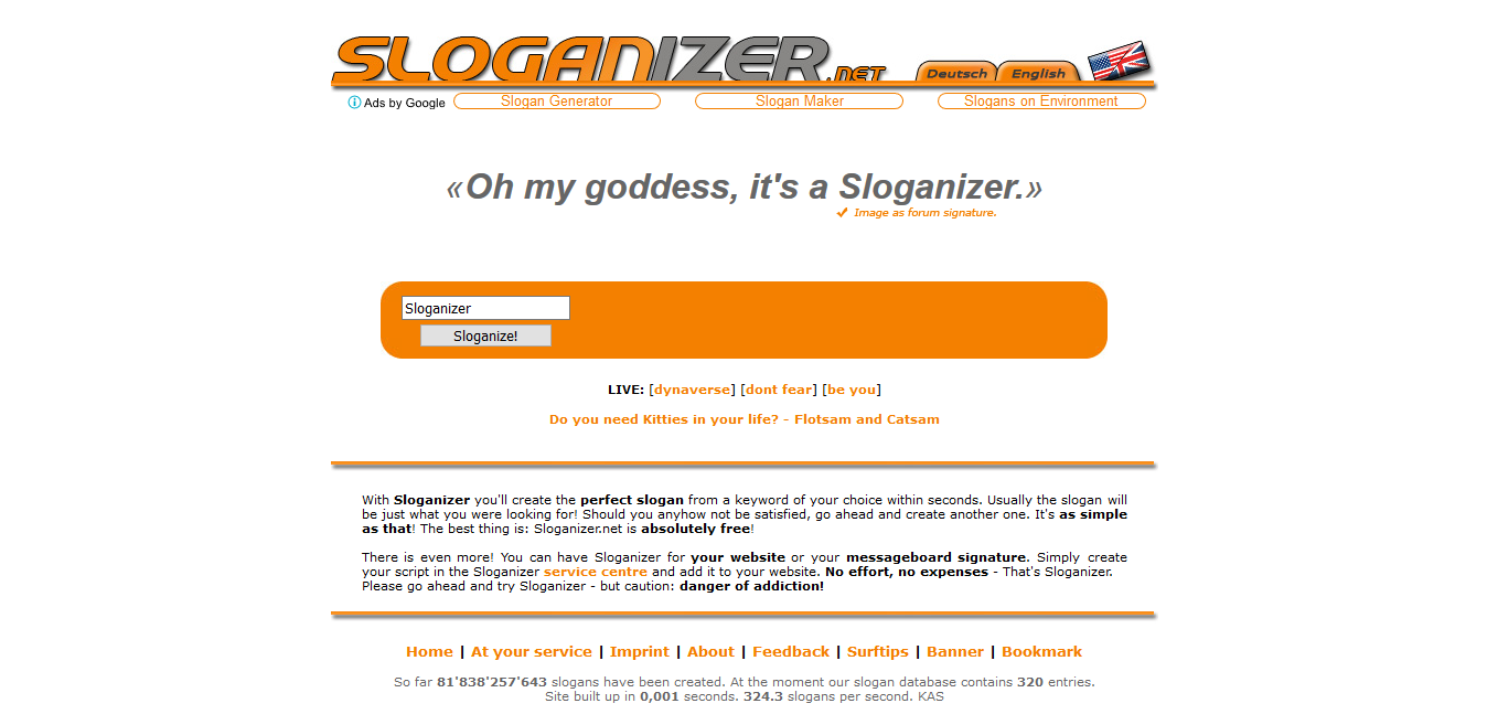 Sloganizer tagline creator