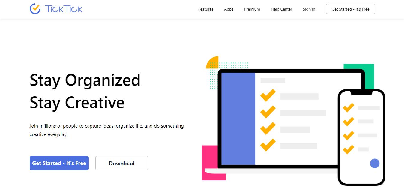 TickTick homepage