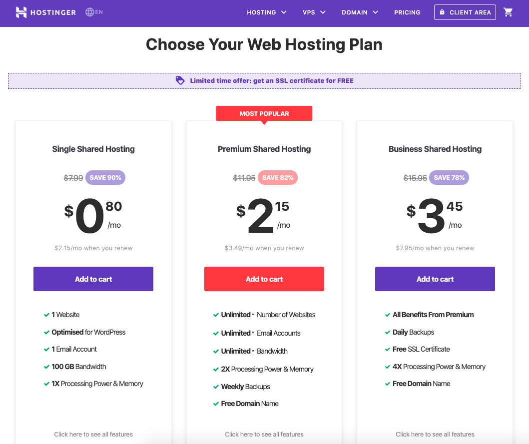 Hostinger offers a wide range of web hosting plans