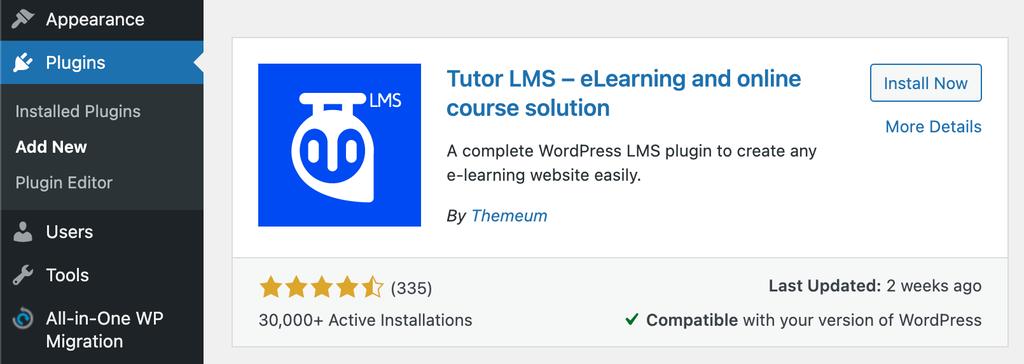 Adding Tutor LMS plugin to WordPress.