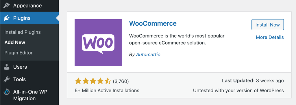 Adding WooCommerce plugin to WordPress.