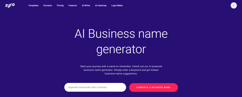 Find your perfect business name using the Zyro Business Name Generator