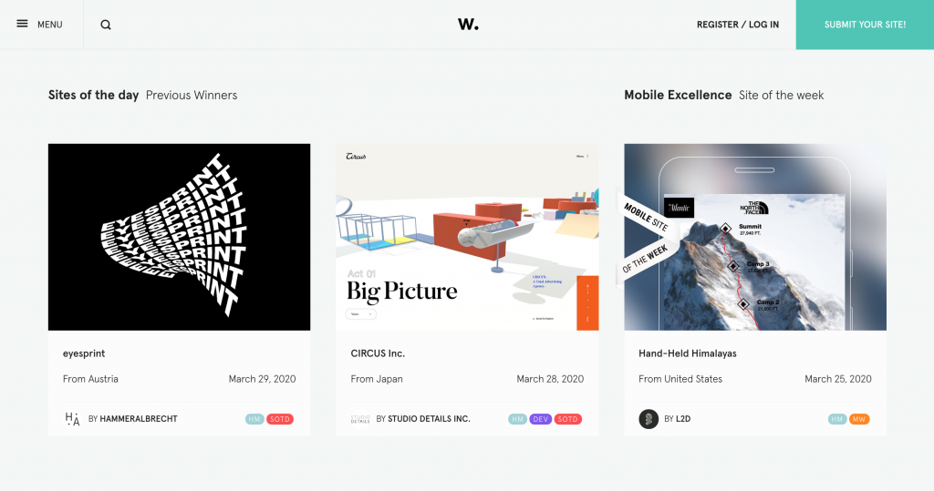 Awwwards, Gallery of Award-Winning Web Design Inspiration