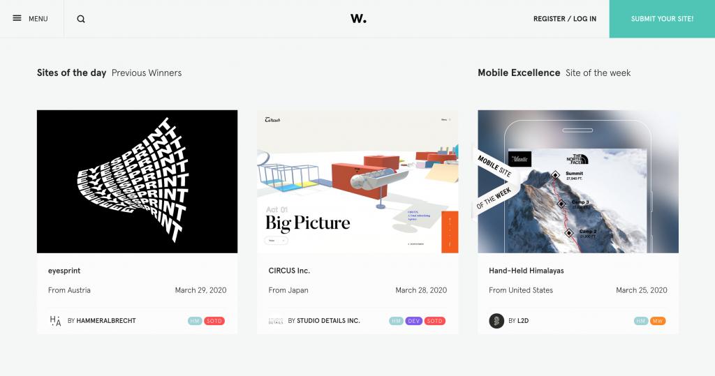 Awwwards, cảm hứng cho web design