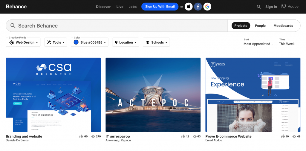 Behance, Place to Find Website Design Inspiration