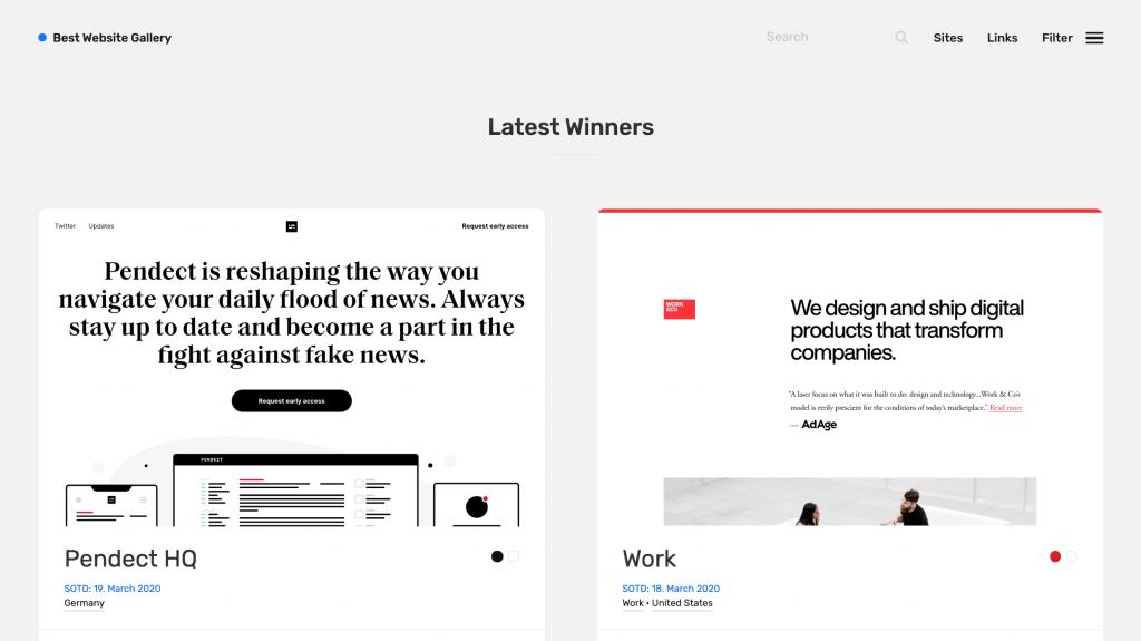 Best Website Gallery để tìm ý tưởng thiết kế web