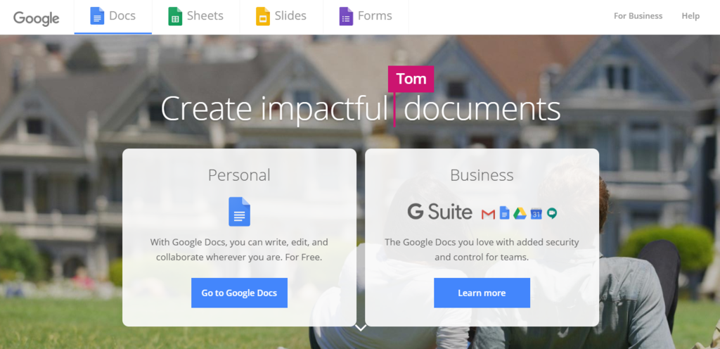 The landing page of Google Docs that includes call to actions.