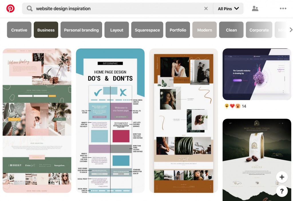 Pinterest, Place to Find Website Design Inspiration