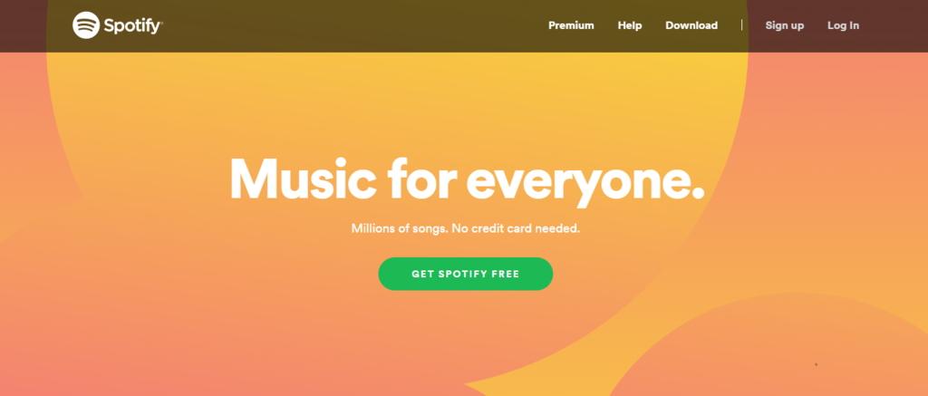 Spotify's landing page and call to action
