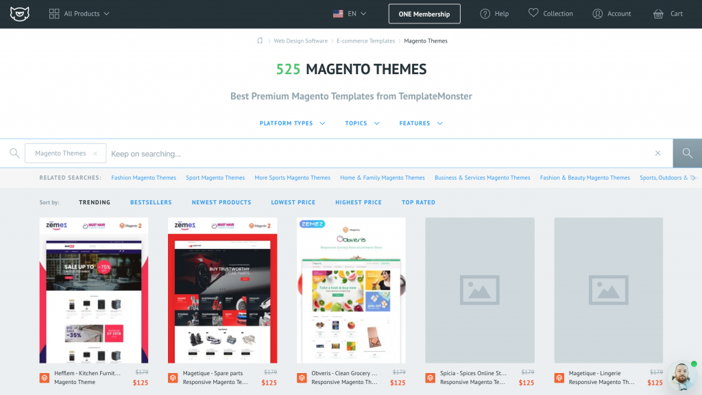Magento Themes on TemplateMonster