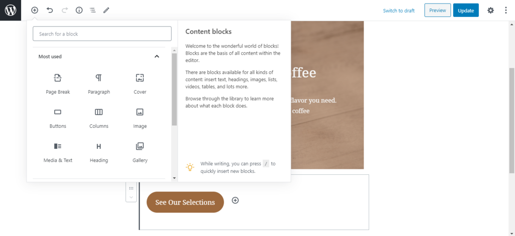 The interface od WordPress' block editor