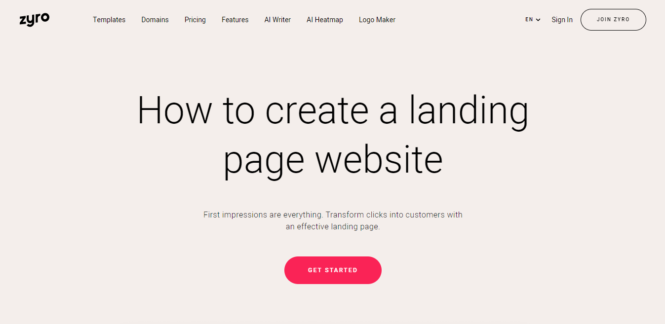The banner of Zyro's landing page builder