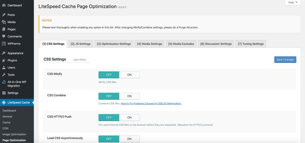 page optimization settings