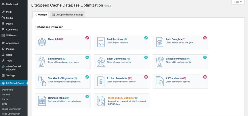 litespeed database customization