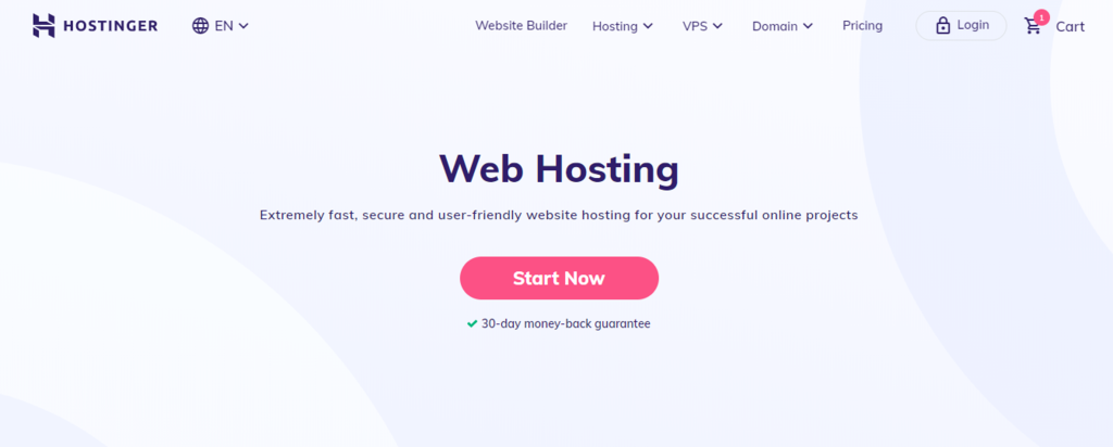 Hostinger landing page for Web Hosting vs domain