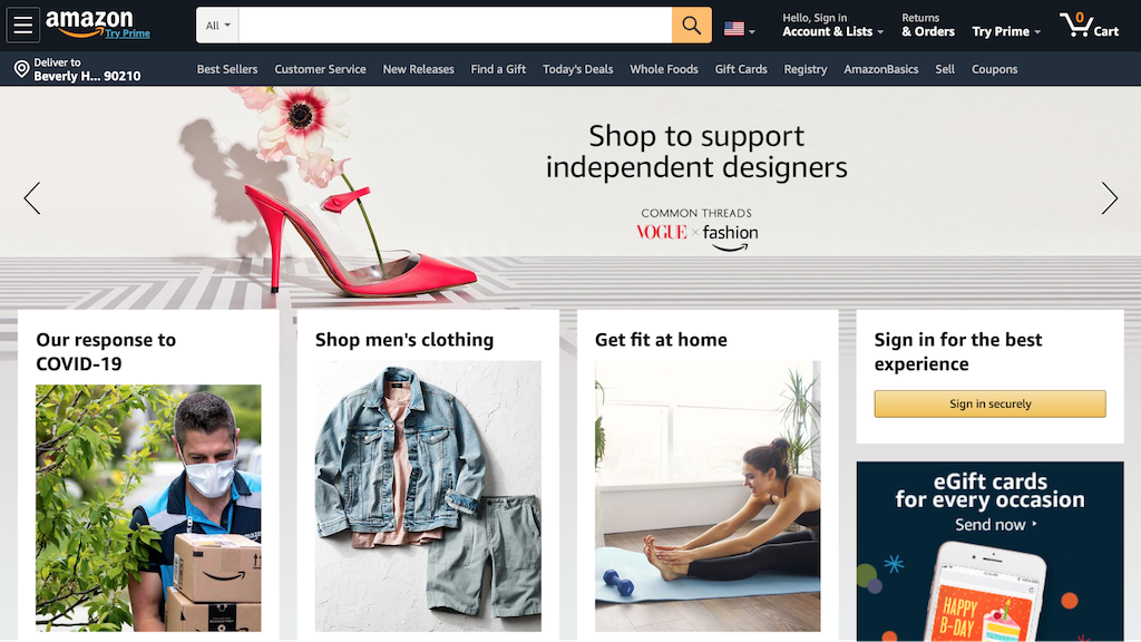 Amazon, one of the ecommerce website example