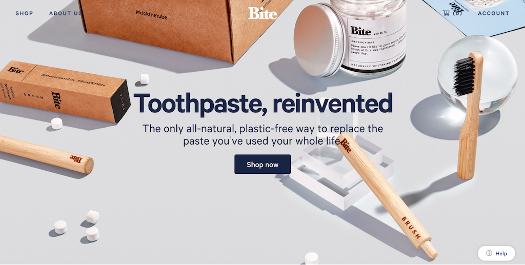Bite toothpaste ecommerce website examples
