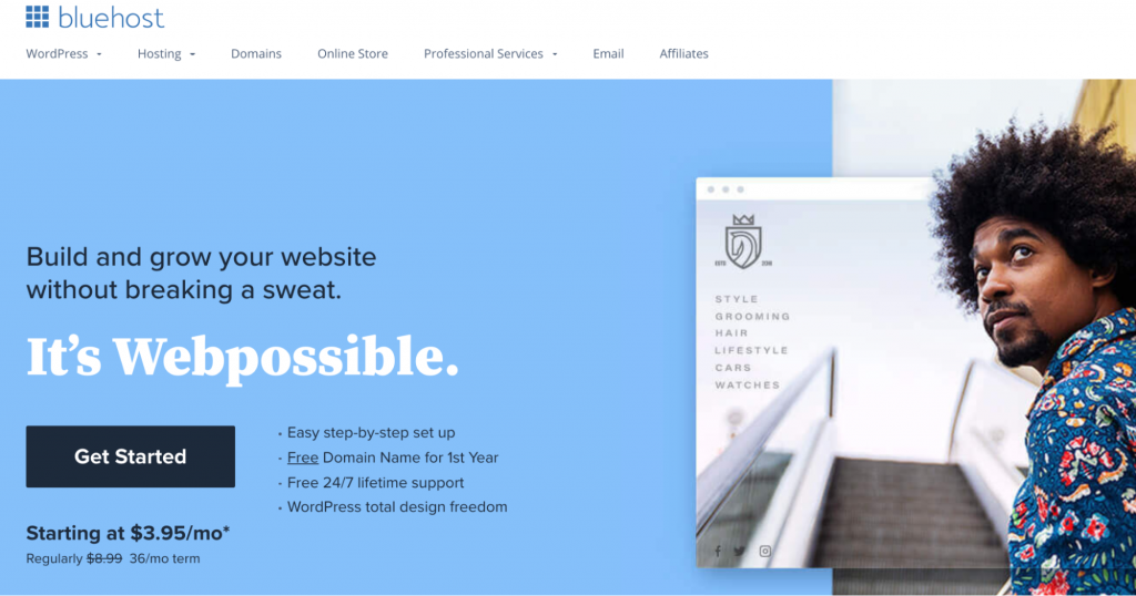 """Bluehost landing page """"It's Webpossible"""""""